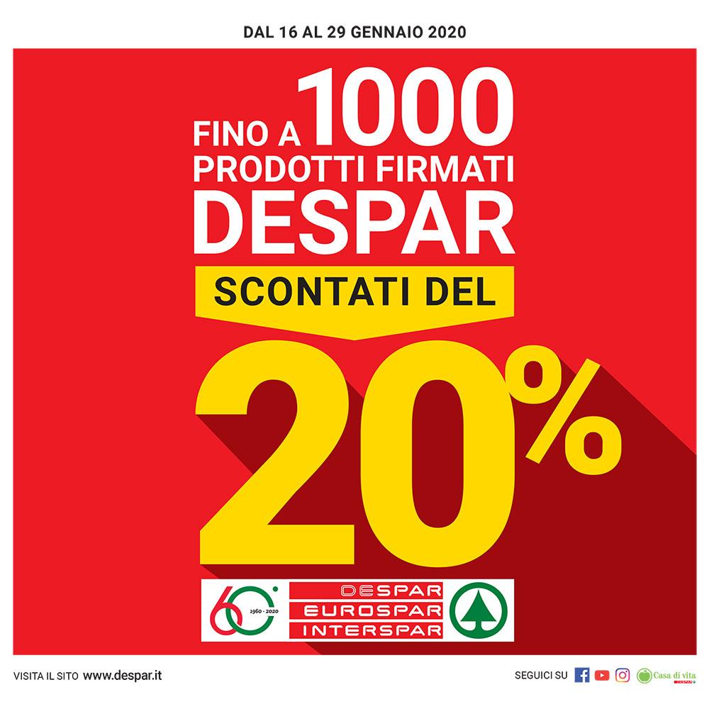 Fino a 1000 prodotti Despar Scontati del 20% - Offerta Eurospar dal 16 al 29 gennaio 2020