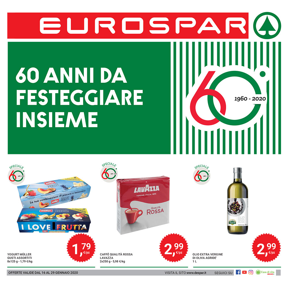 60 anni da festeggiare insieme - Offerta Eurospar dal 16 al 29 gennaio 2020