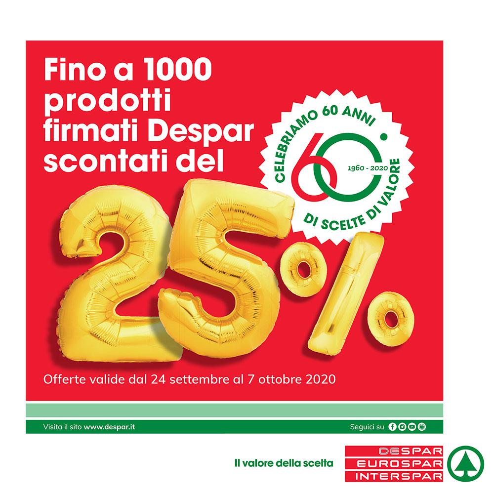 Fino a 1000 prodotti firmati Despar scontati del 25% - Offerta Eurospar valida dal 24 settembre al 7 ottobre 2020